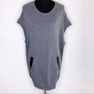 Milly gray lambswool blend sweater dress / tunic leather trim S